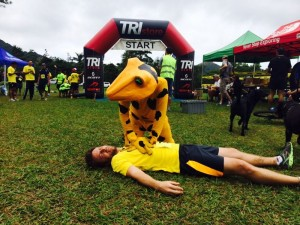 Golden frog saving a life at the race in El Valle